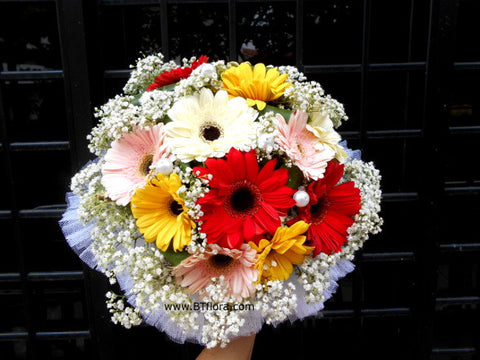 Colourful Gerbera Bridal Bouquet  - WED0236