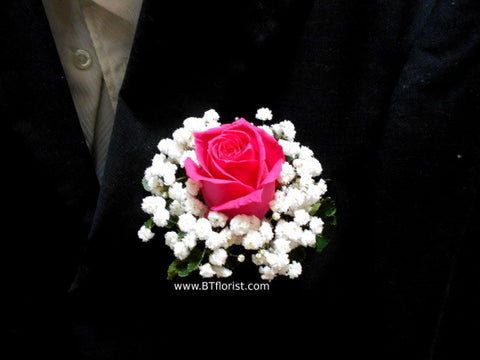 Rose w Baby Breath Corsage - WED0224