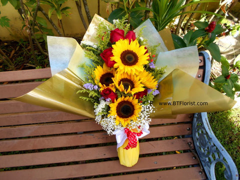 Sunflower with Rose Bouquet        - FBQ1305