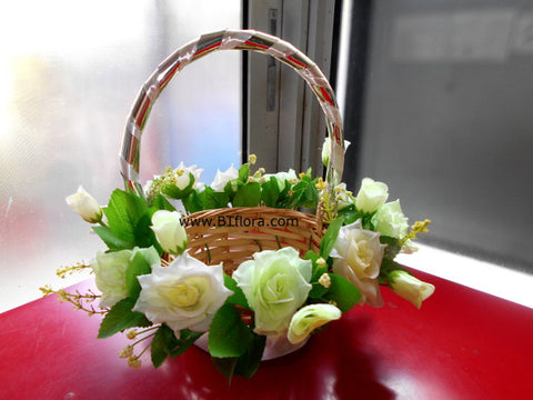 Flower Girl Basket with White Rose   - FGB3801