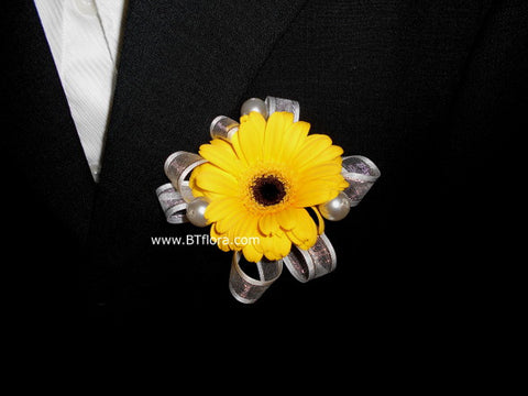 Gerbera with Pearl/Ribbon Corsage - WED0258