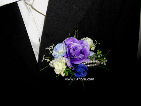 Artificial Purple Corsage with Pearls      - ART0403