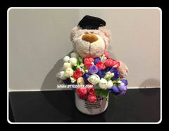 Graduation Bear in a vase    - BWF2367