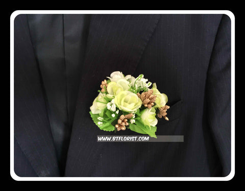 Artificial Green/white rose Corsage  - ART0467