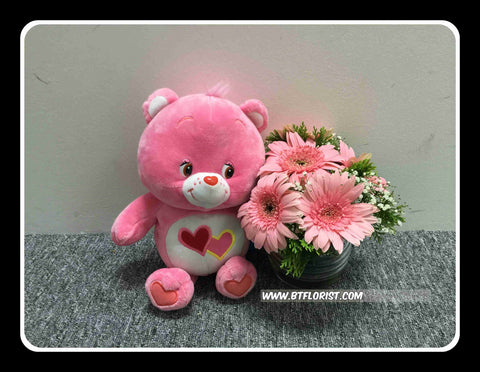 Carebear w Fresh Flower   - BWF3554