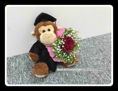 Graduation Monkey w Fresh Flower Bouquet   - BWF3691