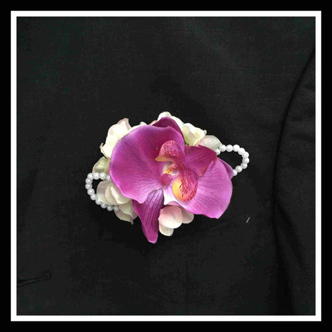 Artificial Orchid Corsage with Pearls - ART0420