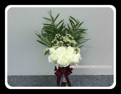 Green/white Bridal Bouquet  - WED0158
