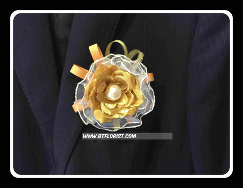 Artificial Gold rose Corsage with pearl  - ART0422
