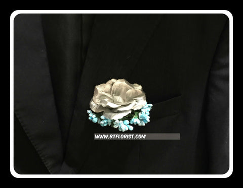 Artificial Silver Rose Corsage  - ART0449