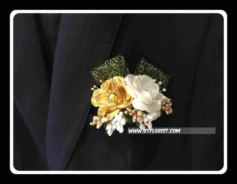 Artificial Gold/white rose Corsage  - ART0421