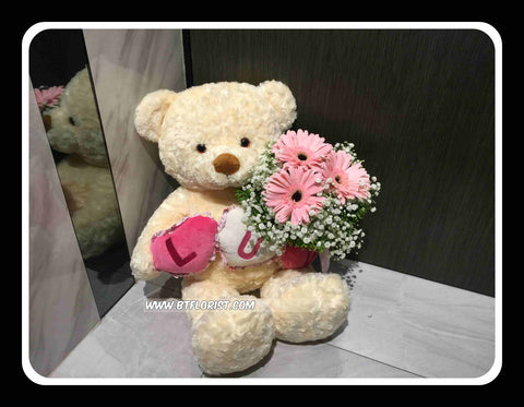 LUV Bear w Gerbera Bouquet     - BWF3755