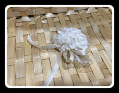 Artificial White Rose Wristlet- WED0387