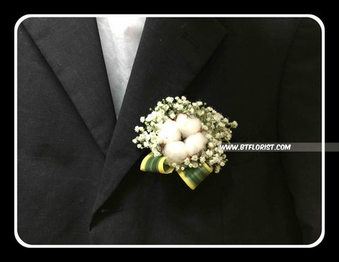 Cotton Flower Corsage - WED0313