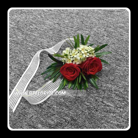 Fresh Double Rose Wrist Corsage - WED0384