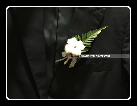 Simple Cotton Flower Boutonniere - WED0392