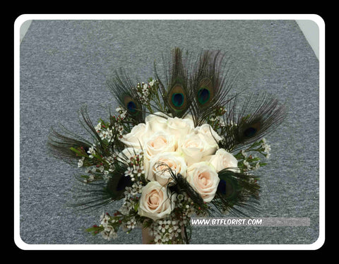 Rose & Peacock Feather Bridal Bouquet  - WED0115