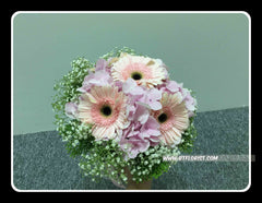 Gerbera n Hydrangea Bridal Bouquet- WED0166