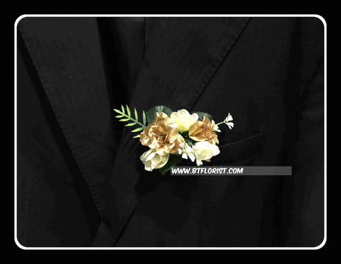 Artificial Twin Gold Rose Corsage  - ART0432