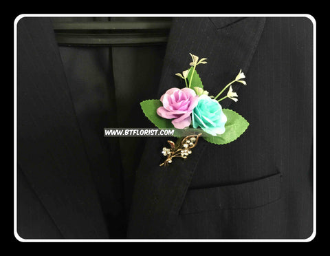 Artificial Twin Rose Corsage  - ART0439