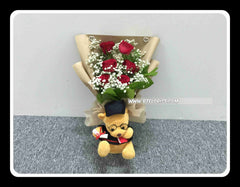 Graduation Bear Bouquet (Fresh Flower)  - BBQ1367