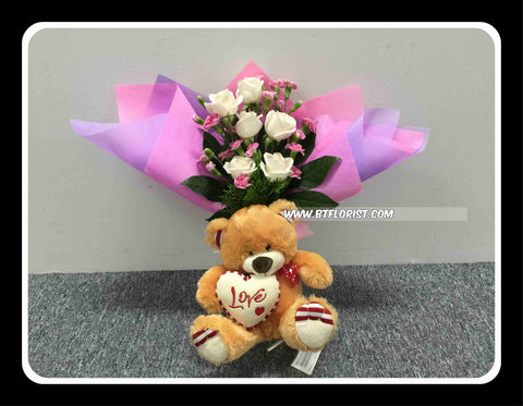 Bear & Flower Bouquet      - BBQ1371