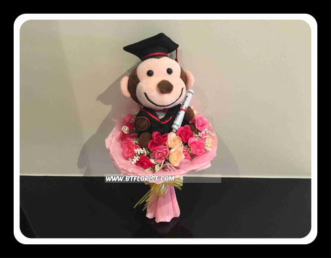 Graduation Cute Monkey Bouquet  - BBQ2343