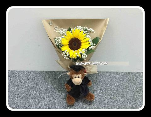 Graduation Monkey w Fresh Flower   - BBQ1373
