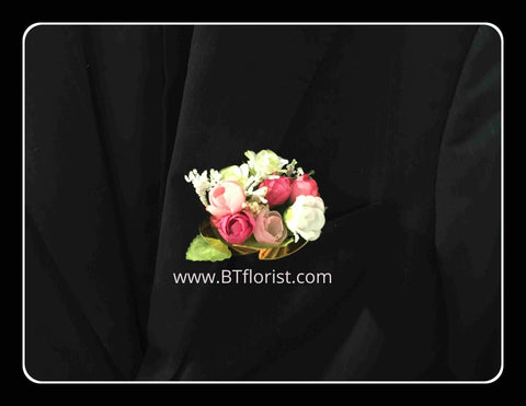 Artificial Pink/white rose Corsage  - ART0438