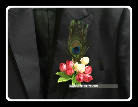 Mini Rose with Peacock Feather Corsage  - ART0488