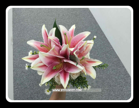 Simple Lily & Rose Bridal Bouquet  - WED0164
