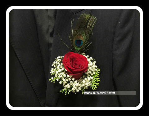 Rose with Peacock Feather Corsage  - WED0499