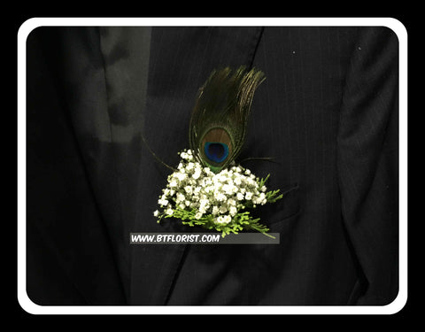 Baby Breath with Peacock Feather Corsage  - WED0489