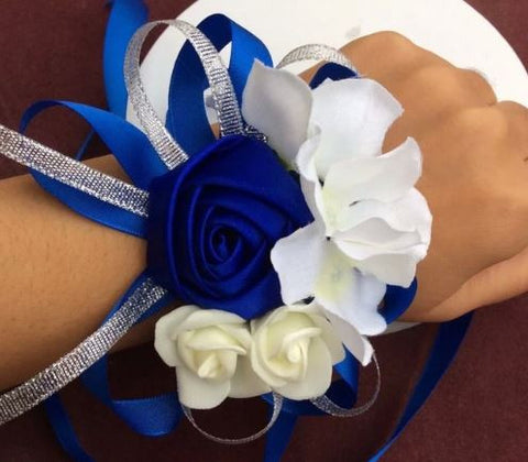 Blue Wrist Corsage   - WED0372A
