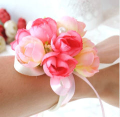 Artificial Sweet Rose Wristlet   - WED0263A