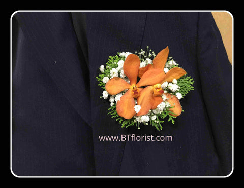Orange Orchid Corsage - WED0243