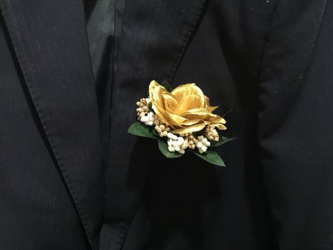 Artificial Gold rose Corsage  - ART0402A
