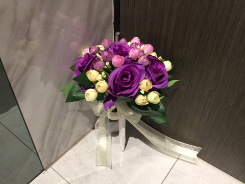 Artificial Rose Bridal Bouquet   - WED0804