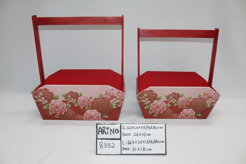 Red Wooden Box with Handle- BAS8332