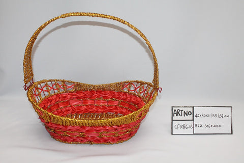 Gold Red Basket - BAS1086