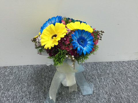 Blue n Yellow Bridal Bouquet  - WED0200