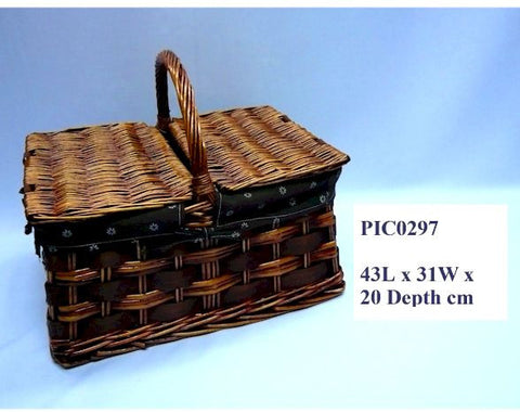 Rectangle Brown Picnic Basket - PIC0297