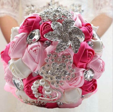 Pink White Brooch Bouquet   - WED0387