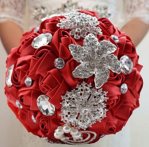 Red Brooch Bouquet   - WED0345