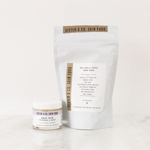 New Mum and Baby Gift with Organic Baby Cream, Coffee + Cacao Scrub