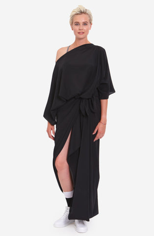 TIE WRAP MAXI SILK DRESS