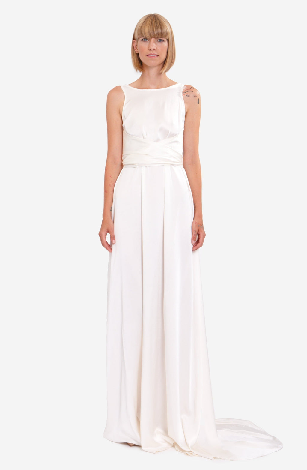 Leeda: dress - WEDDING WRAP DRESS WITH TRAIL