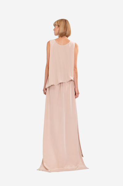 Leeda: dress - MAXI SILK DRESS FLOWING