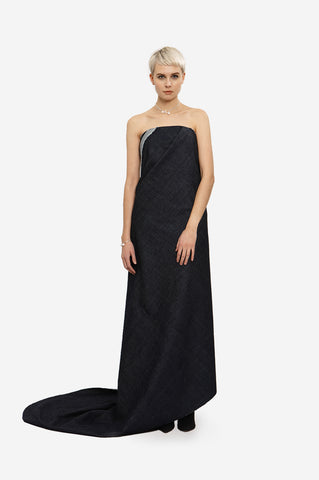 MAXI SILK DRESS FLOWING WITH SLEEVES