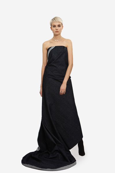Leeda: dress - DENIM MAXI WRAP DRESS